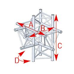 57ASX4052 / Angle 5 départs 90° pied lg 0m81 x 0m858 x 0m60