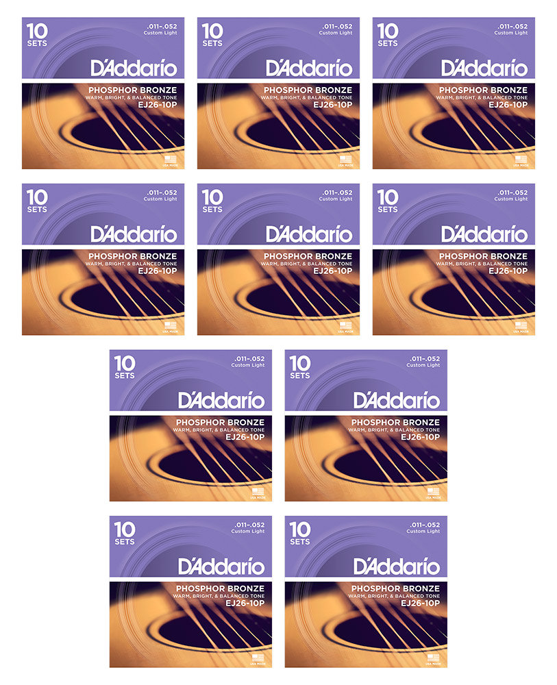 11-52 D/'Addario EJ26-10P Phosphor Bronze Acoustic Guitar Strings Cust Light
